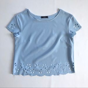 Shein Light Blue Flower Cropped Tee T-Shirt Small